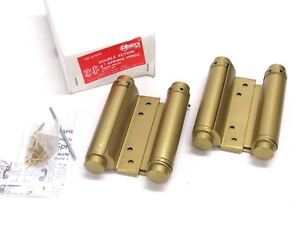 """NEW! 1-Pair GUARD SECURITY DOUBLE ACTION 4"""" SPRING HINGES, BRASS FINISH, 87640"""