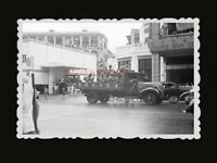 40s BRITISH INDIA ARMY TRUCK CAR GAS STATION SHOP Old Hong Kong Photo 香港老照片 #978