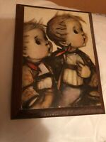 Mid Century Hummel Plaque of Two Boys With Picnic Baskets