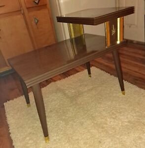 Vintage Mid Century Atomic Starbust Two Teir Wood End Table Night Stand MCM