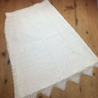 Per Una White Lace Skirt Size 10 Pencil Knee Length Lined