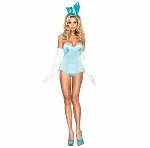 Sexy Blue Bunny Playboy Costume (One Size uk 6 - 8)