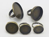 20 Bronze Tone Metal Adjustable Ring With Round Blank Cabochon Setting 14mm-30mm