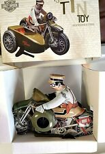 HARLEY-DAVIDSON SIDE CAR TIN TOY 1950S REPRODUCTION WIND-UP STYLE  XONEX TESTED