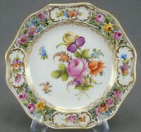 Carl Thieme Dresden Hand Painted Reticulated Floral & Gold Bread Plate N