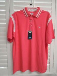 CALLAWAY Paradise Pink Collar Short Sleeve Athletic Golf Polo Top Shirt Sz L NEW