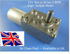 12V DC 2 RPM Reversable - Worm Drive Motor & GBox - Hi Torque - Available in UK