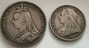 1888 Victorian Silver Crown + 1897 Silver Half Crown  - See images for condition