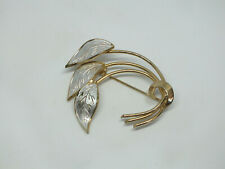 """2 1/8 x 2"""" Signed Coro Beautiful Brooch Pin Gold Silver Tone Texture"""