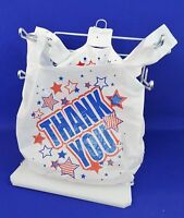 "Americana THANK YOU White Plastic T-Shirt Bags 11.5"" x 6"" x 21""  Bags Only"
