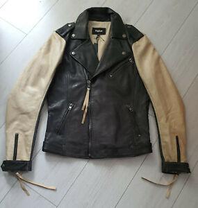 TIGHA Herren Biker Lederjacke Torvi Vintage Black/Sand Size M