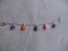 Pink & Purple Agate Puffy Coin Charm Bracelet on a Silver Plated Chain