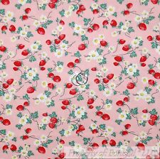 BonEful Fabric FQ Cotton Quilt VTG Pink Red Strawberry White Yellow Daisy Flower