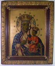 religiöses UHRENBILD / RAHMENUHR um 1880 - Heilige Maria mit Jesuskind