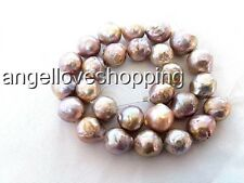XMAS Flameball Purple Nucleated Baroque FreshWater Pearl necklace 13-15mm