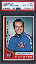 1974 Topps #261 Scotty Bowman Rookie HOF Signed Auto Autograph Canadiens PSA/DNA