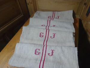 Antique European Feed Sack GRAIN SACK Monogram GJ  # 10419