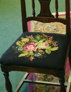 Victorian Floral Belgian Tapestry Chair Seat Cover Upholstery