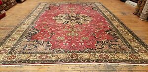 Exquisite Natural Red Dyes Antique 1930-1940's Wool Pile Bunyan Rug 7x10ft