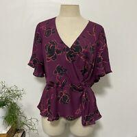 PORTMANS Size 14 Purple Black Floral Blouse Wrap Top Flutter Sleeves Tie Waist