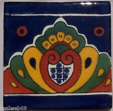 "9 Handcrafted 4"" x 4"" Mexican Clay Talavera Tiles C224"