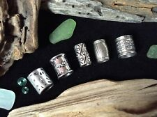 Silver Dreadlock Beads 5 x  7-11mm Hole Antique Silver Large Viking Beard Beads