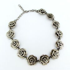 925 Silver Vintage Antique Finish Puffy Rose Chain Necklace 47g