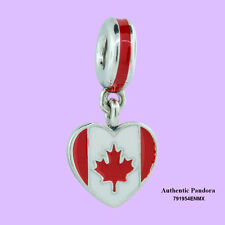 Authentic Pandora Canada Heart Flag Charm, Mixed Enamels 791954ENMX