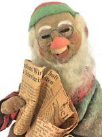 Germany Vtg Cloth Artist Designed Christmas OOAK Santa Read Newspaper Folk Art