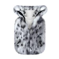 Helen Moore Hot Water Bottle Luxury Faux Fur Cover in Arctic Leopard Gift Design