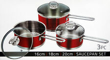 3pc Saucepan Set Stainless Steel Cookware Pot With Glass Lids Sauce Pan Ruby Red