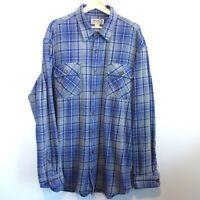 Duluth Trading Co. Flannel Shirt Men's XLT Gray Blue Plaid Cotton Button Front
