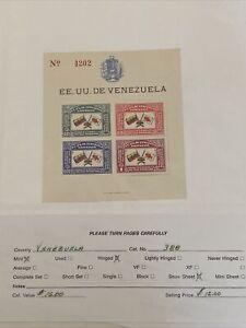 VENEZUELA 1944  RED CROSS Anniversary BLOCK  Scott # 388 mint Not Hinged