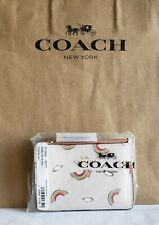 🌈NWT🌈 Coach Rainbow Skinny ID Credit Card Holder Case Wallet Key Chain Ring