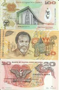 PAPUA NEW GUINEA LOT 20-50-100 KINA. HIGH VALUE. UNC. 3RW 11NOV