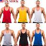 MENS PLAIN GYM VEST TEE BODYBUILDING MUSCLE STRINGER RACERBACK TANK TOP T SHIRT