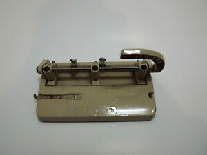Foothill 3 Punch Heavy Duty Lever Hole Punch Puncher 310 Beige Made in USA