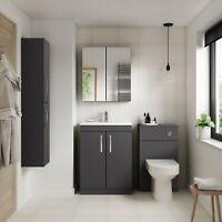 Athena Gloss Grey Bathroom Furniture Vanity Cabinet Basin, Mirrors, Bath Panels