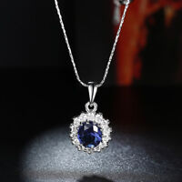 0.75Ct  Blue Sapphire Oval Cut Pendant Necklace Silver w/ Chain