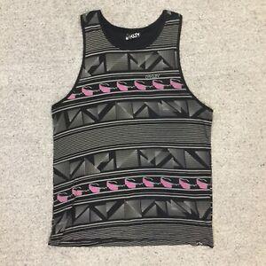 OAKLEY Mens Large Black, Grey, Pink Patterned Singlet