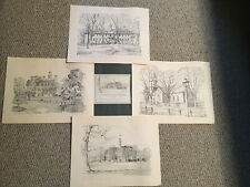 (4) Charles H. Overly SKETCHES OF COLONIAL WILLIAMSBURG - 11x14 - ca. 1960s