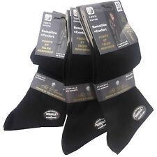 Lot 1 à 6 Paires de chaussettes homme en fil d'écosse 100% coton Noire  39 au 46