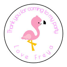 Cute Pink Flamingo Personalised Thank You Sticker Party Sweet Cone Birthday
