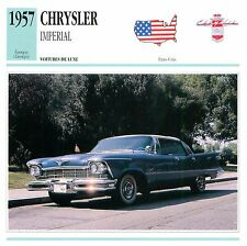 Chrysler Imperial Berline  V8 Luxe 1957 USA CAR VOITURE CARTE CARD FICHE