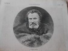 Gravure 1875 - Portrait de M. Pierre Larousse