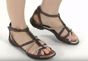 ECCO Groove Coffee Brown Sand Gladiator Bison Strappy Sandals 10 EU 41