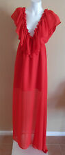 VINTAGE HARAH DESIGNS RED CHIFFON MAXI  DRESS  wedding  short sleeve full length