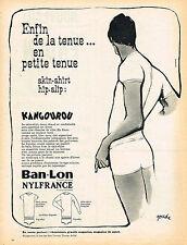 PUBLICITE ADVERTISING  1962   BAN-LON KANGOUROU  sous vetements