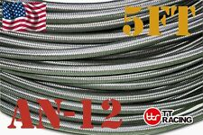 Stainless Steel Braided Hose (AN-12) 1500PSI for Fuel/Oil/Water 5 FT