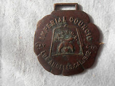 Antique MASONIC order Brass watch fob imperial council 1912 Los Angeles Ca